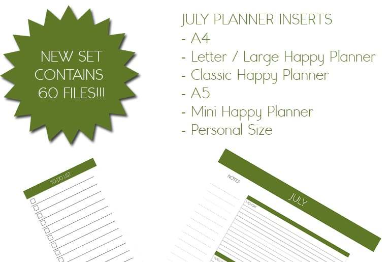 July 2017 Planner Inserts
