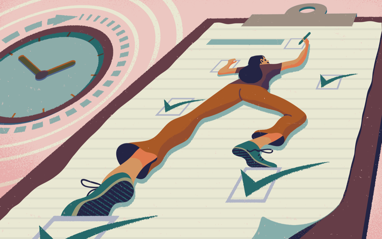 Illustration of person scaling to-do list