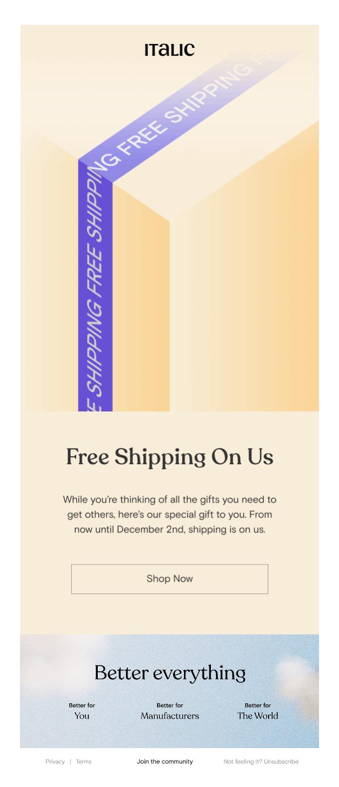 Italic Free Shipping example
