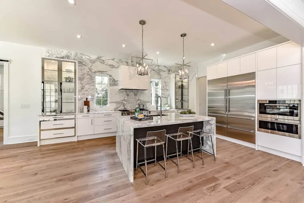 Large kitchen with island and wooden floor