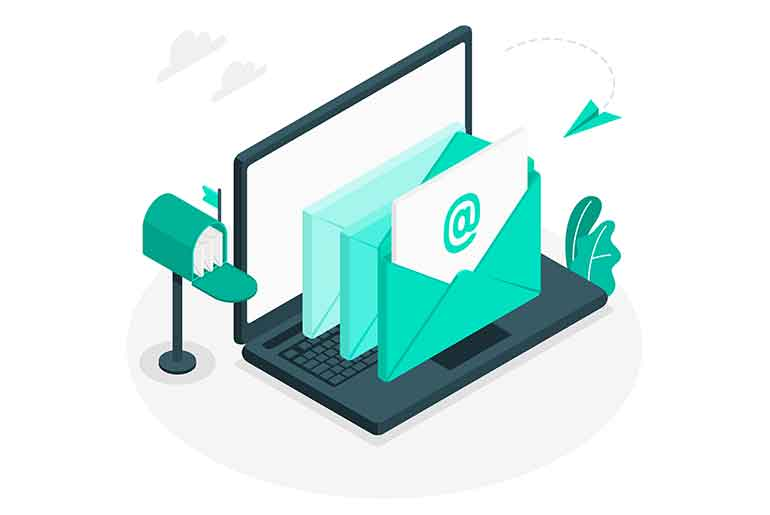 Illustration of emails coming out of a laptop with a mailbox at the side