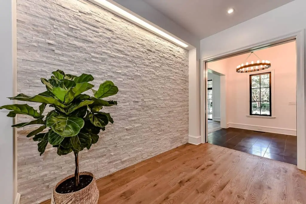 Wooden floor with a feature wall and plant