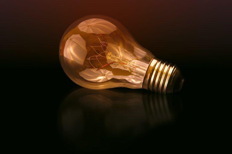 Lightbulb on a black background