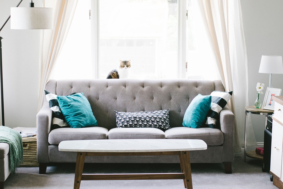 Grey couch with green accented cushions