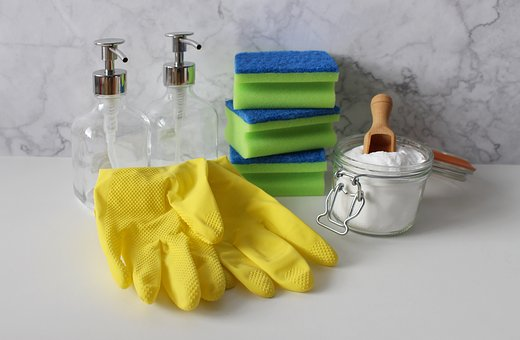 rubber gloves, sponges and cleaning supplies