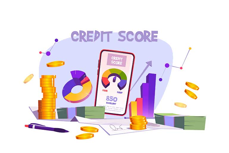 Illustration of a credit score on a smartphone screen with coins and paper money