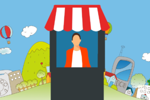Illustration of person standing in a market stall