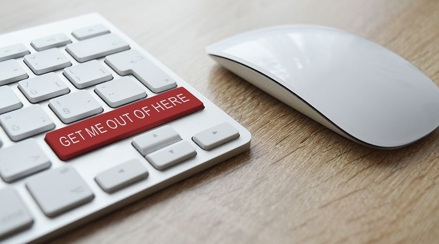 """Keyboard with """"Get me out of here"""" text on a button"""