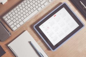 Apple keyboard, iPad and notebook