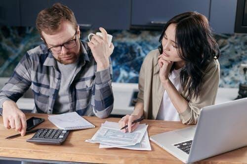 Couple studying finances