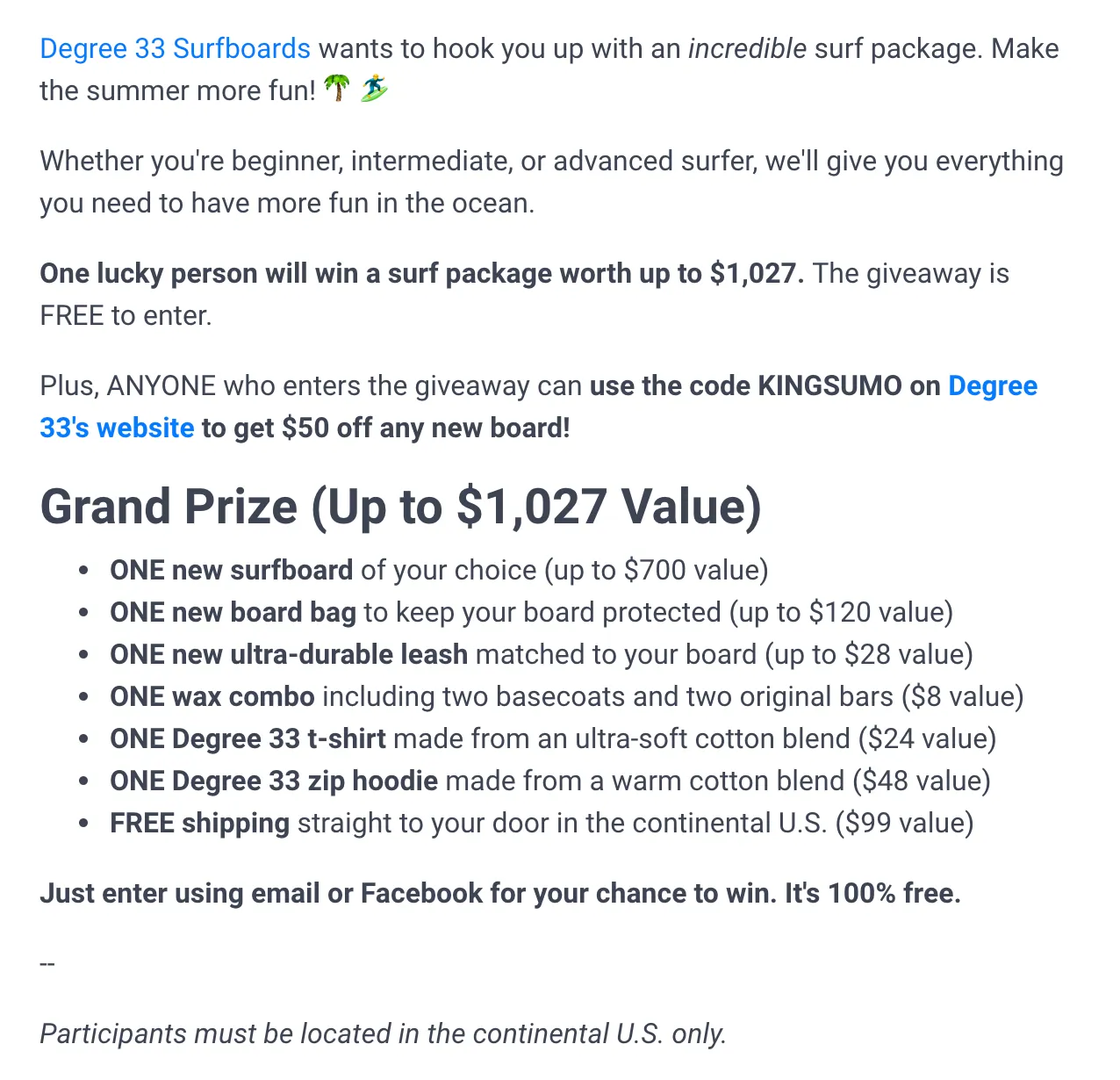 Example of a giveaway competition