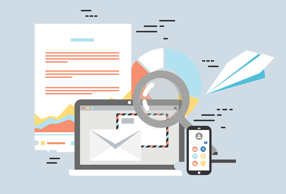 Illustration of an email newsletter, laptop and mobile phone