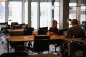 Blurred image of a coworking space