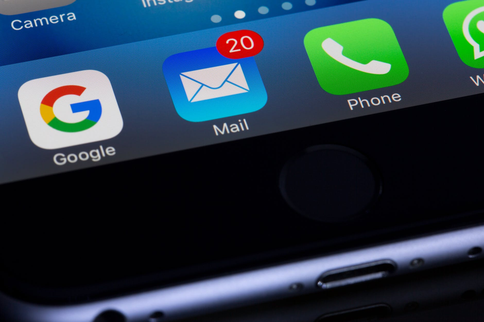 Close-up of a mobile screen showing unread email message count