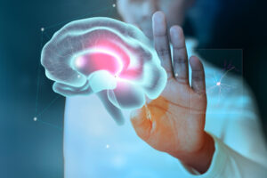 Person holding out their hand towards an illustration of a brain