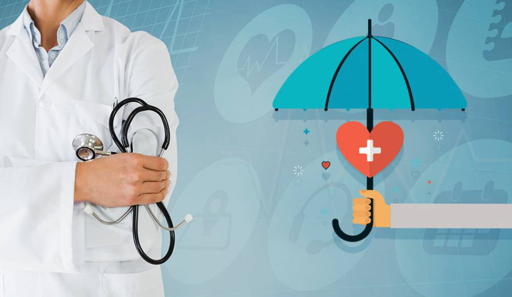 Person in white coat holding a stethoscope standing next to an illustration of someone holding an umbrella