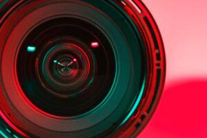 Closeup of a video camera lens